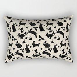 Wild Hare Play in Black Rectangular Pillow