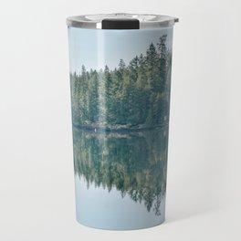 Forest reflection on a lake Travel Mug