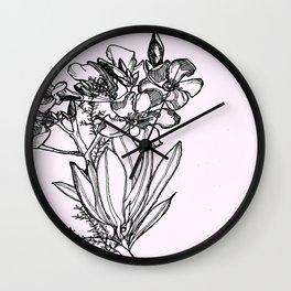 flower in black ink Wall Clock