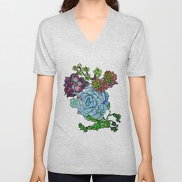 Sweet Succulents Unisex V-Neck