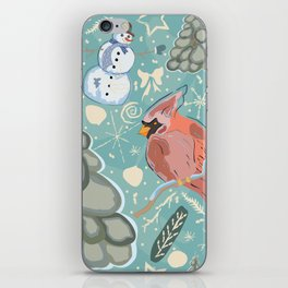 Seamless Winter Pattern with cute Cardinal Bird, Snowman and Spruce Tree iPhone Skin