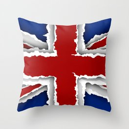 design flag from torn papers with shadows Throw Pillow
