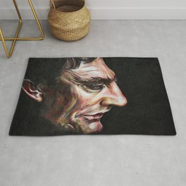 Portrait of Johnny Cash in Colored Pencil Rug