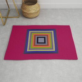 TARGET multi-colour squares wine red, royal blue, lime green, tan Rug