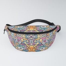 Mad monsters and odd robots form a crowded pattern design full of colors Fanny Pack