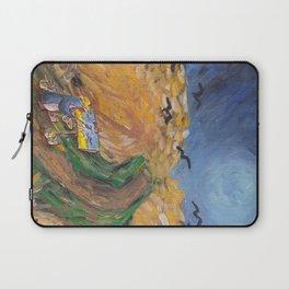 Penguin Van Gogh painting crows in golden field Laptop Sleeve