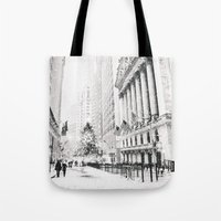new york city Tote Bags featuring New York City Christmas by Vivienne Gucwa