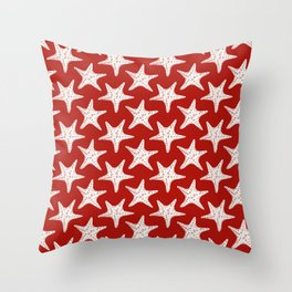 Maritime Red & White Starfish Pattern - Mix & Match with Simplicity of Life Throw Pillow