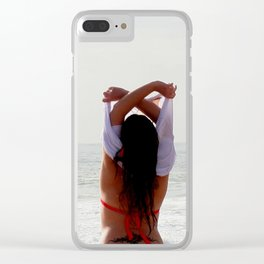 Girl at the beach getting ready for a bath Clear iPhone Case
