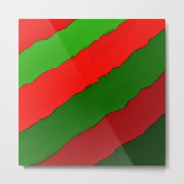 Bright Christmas Diagonal Stripes Metal Print