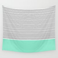 allyson johnson Wall Tapestries featuring Minimal Mint Stripes by Allyson Johnson