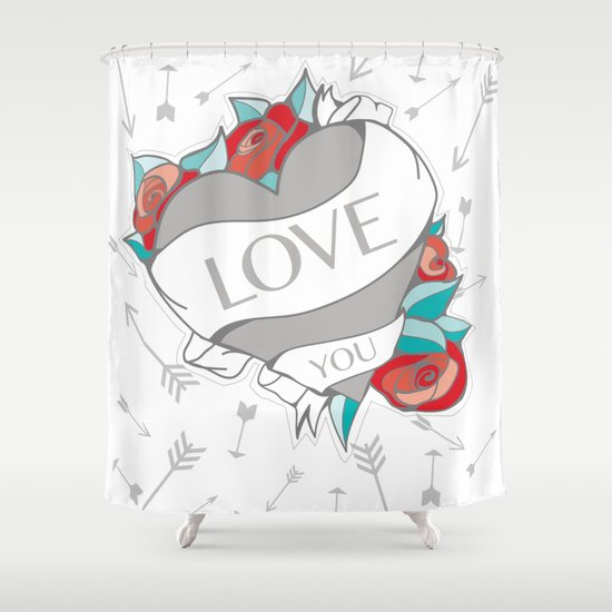 Heart Tattoo pattern Shower Curtain