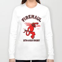 whisky Long Sleeve T-shirts featuring Firemaul Whisky by Ant Atomic