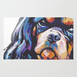 black and tan Cavalier King Charles Spaniel Dog Portrait Pop Art painting by Lea Rug