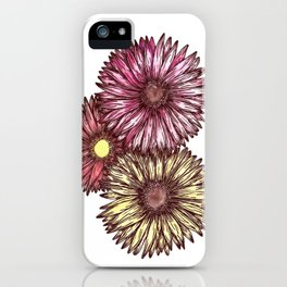 Pink and Yellow Gerber Daisies Watercolor and Ink Painting iPhone Case