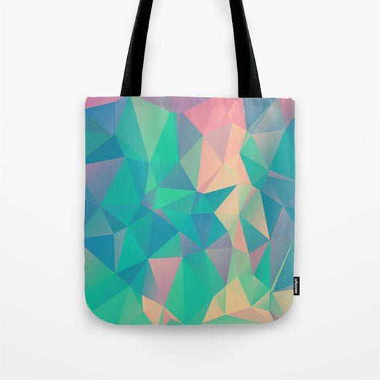 Fractured, Colorful Triangles Geometric Shapes Tote Bag