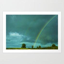 Grainy rainbow through car window Art Print