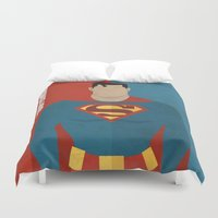 super hero Duvet Covers featuring Super by Loud & Quiet