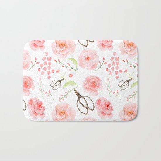 Summer Flowers Flower Floral Pink Vintage Roses #Society6 Bath Mat