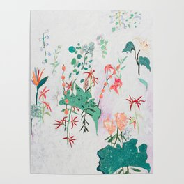 Abstract Jungle Floral on Pink and White Poster