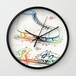 Ice Skate Patent - Sharon Cummings Wall Clock