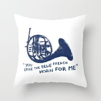 how i met your mother Throw Pillows featuring How I Met Your Mother - Blue French Horn by Victoria Schiariti