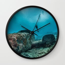 shipwreck and diver Wall Clock