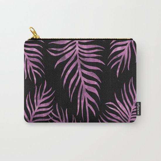 Fern Pattern Purple On Black Background Carry-All Pouch