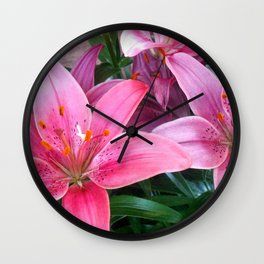 Many Pink Flowers Wall Clock