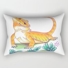 Bearded Dragon - Turquoise Crystals Rectangular Pillow