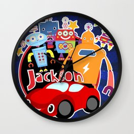 Jax-Red Car + Robots Wall Clock