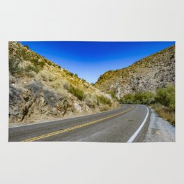 Highway Road Cutting through the Mountains in the Anza Borrego Desert, California, USA Rug