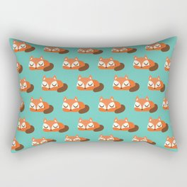 Sleeping Fox Print - Teal Rectangular Pillow
