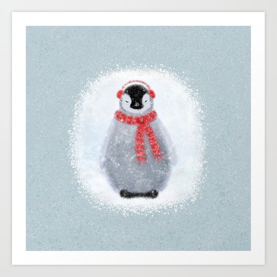 Chilly Little Penguin Art Print