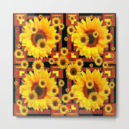 KANSAS WESTERN BLACK & RED YELLOW SUNFLOWERS Metal Print
