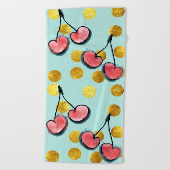 Cherry blue Beach Towel