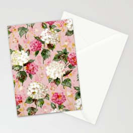 Vintage green pink white bohemian hortensia flowers Stationery Cards