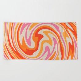 70s Retro Swirl Color Abstract Beach Towel