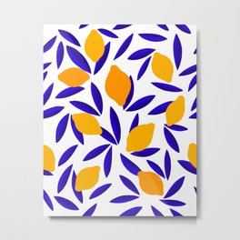 Blue and yellow Lemon Summery Pattern Metal Print