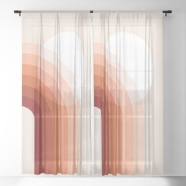 Mid Century Modern Geometric 79 in Earthy Terracotta Shades (Sun and Rainbow abstraction) Sheer Curtain