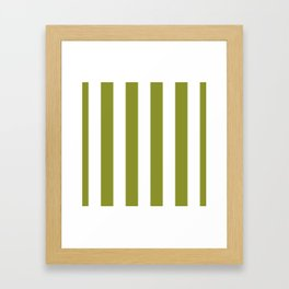 Dark Pastel Green Pepper Stem and White Wide Vertical Cabana Tent Stripe Framed Art Print