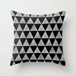 stamped triangles on black Throw Pillow