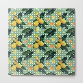Bird & lemons green pattern Metal Print