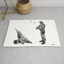 Banksy Soldier With Fallen Angel Artwork Reproduction for Prints Posters Tshirts Men Women Kids Rug