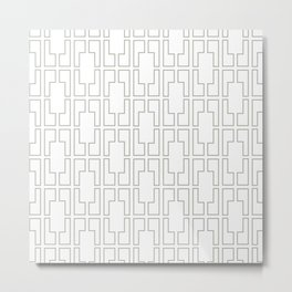 Simply Mid-Century Retro Gray on White Metal Print