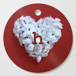 Red Monogrammed Heart H Cutting Board