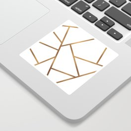 White and Gold Fragments - Geometric Design Sticker