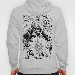 Inky Black and White Floral 1 Hoody