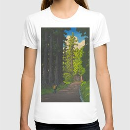 Vintage Japanese Woodblock Print Kawase Hasui Mystical Japanese forest Tall Green Trees T-shirt