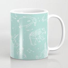Origami Constellations - geometric animals constellations design - mint Coffee Mug